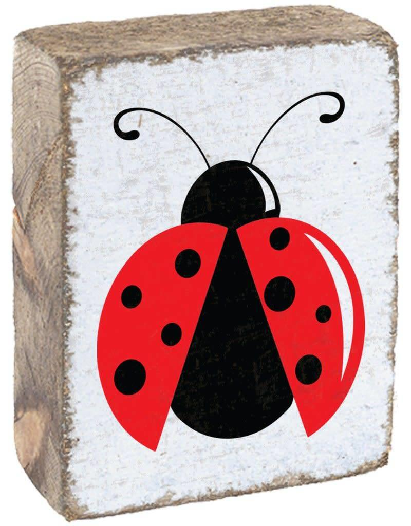 RUSTIC MARLIN Rustic Block Ladybug - White, Red, Black