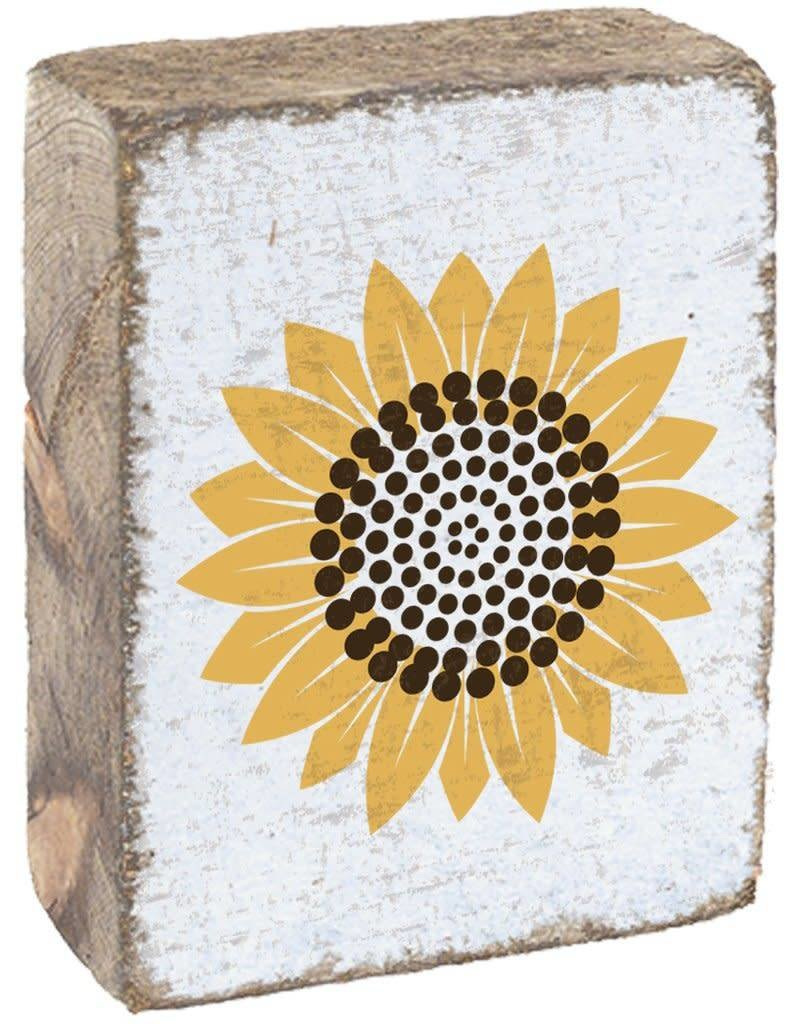 RUSTIC MARLIN Rustic Block Sunflower - White, Yellow, Brown