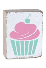 RUSTIC MARLIN Rustic Block Cupcake - White, Pink, Sea Glass