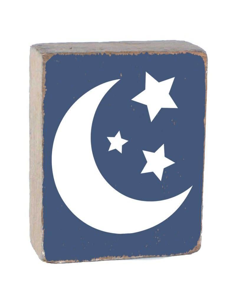 RUSTIC MARLIN Rustic Block Moon + Stars - Blueberry, White