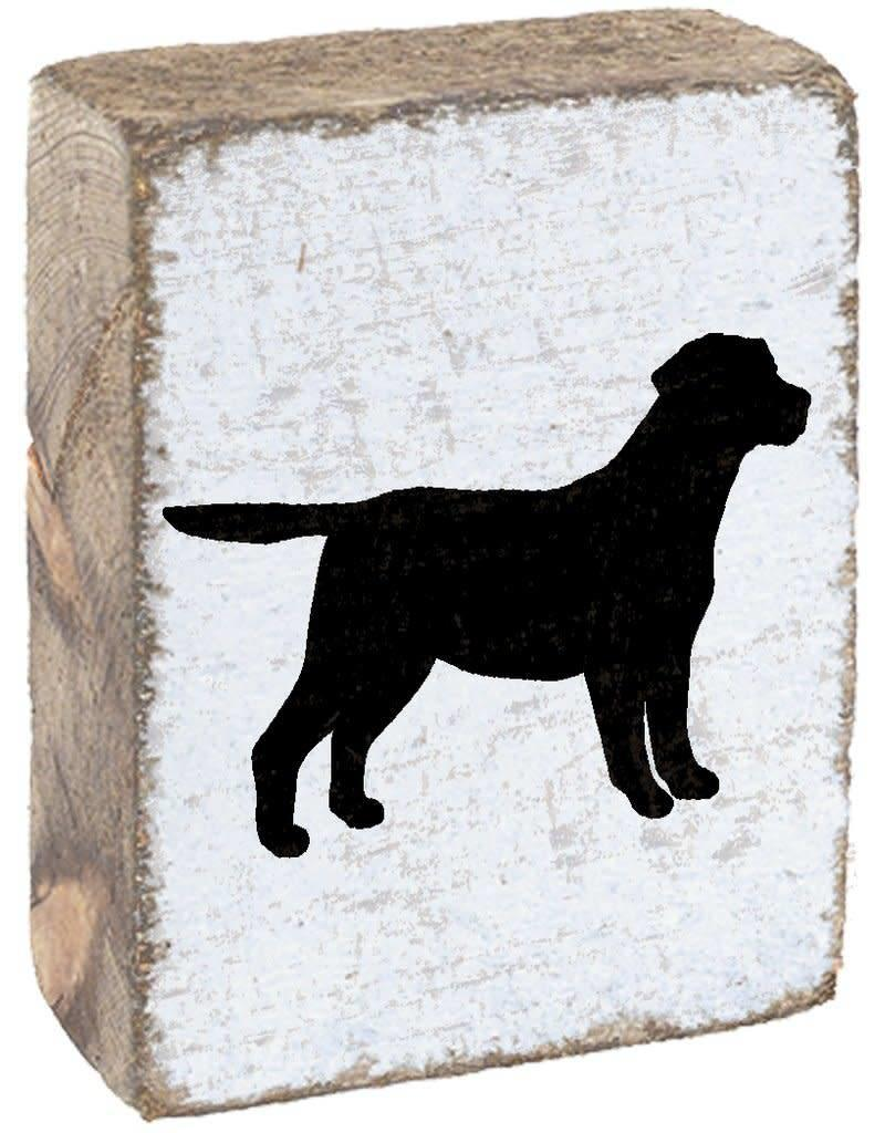 RUSTIC MARLIN Rustic Block Dog - White, Black