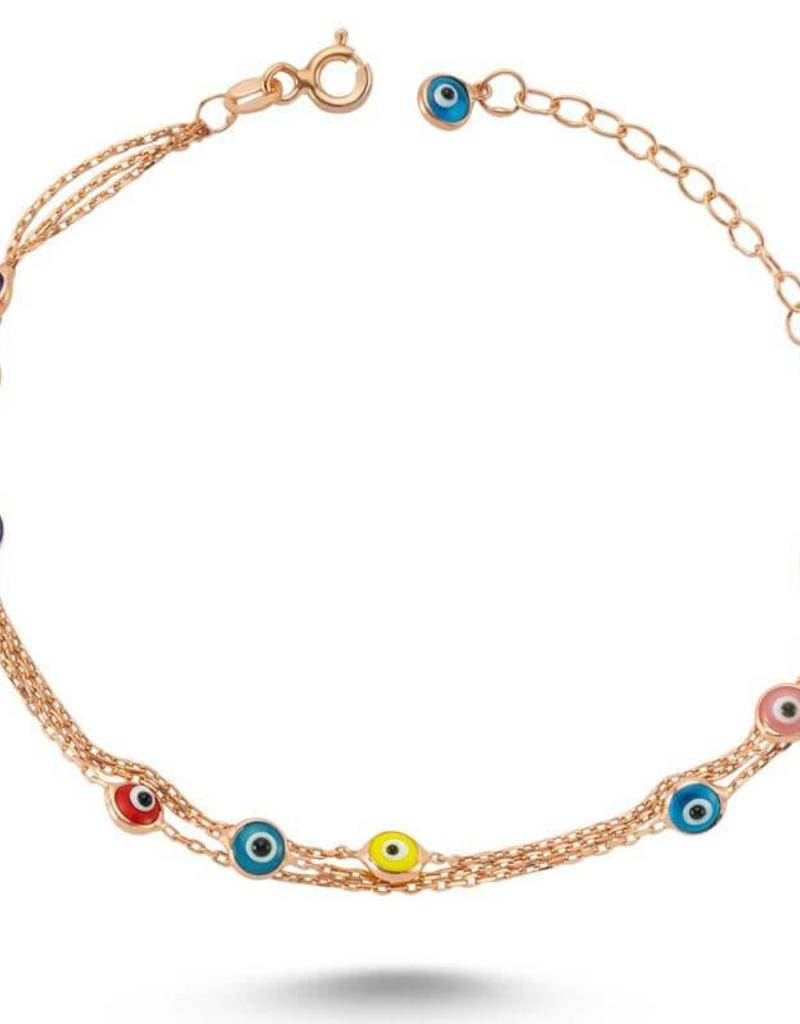 AMORIUM 1351-1094 COLORFUL EVIL EYE BRACELET IN ROSE GOLD