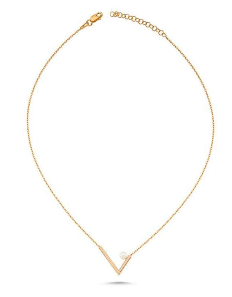 AMORIUM 3301-1560 LYRA V NECKLACE ROSE GOLD