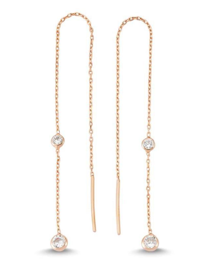 AMORIUM 2431-1225 ROSE GOLD DIAMOND THREADER EARRINGS