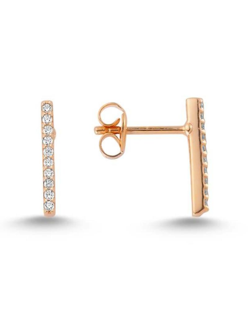 AMORIUM 2331-1112 ROSE GOLD BAR EARRINGS