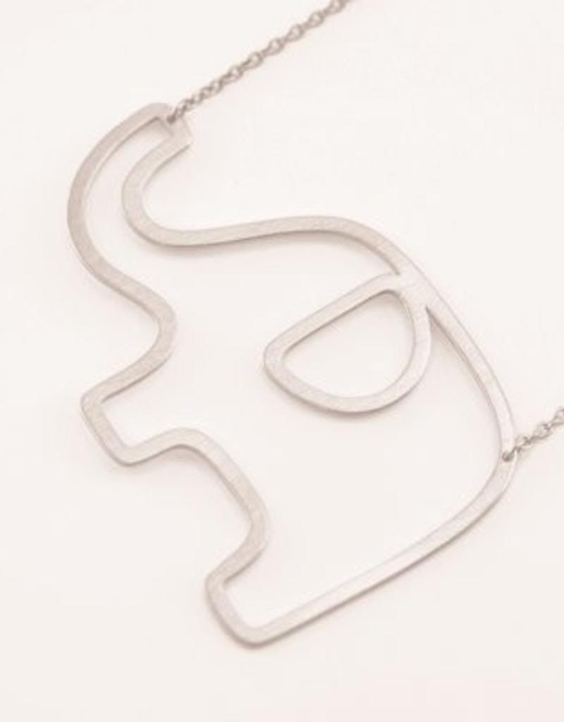 31491 SILVER ELEPHANT LARGE SIDEWAYS NECKLACE
