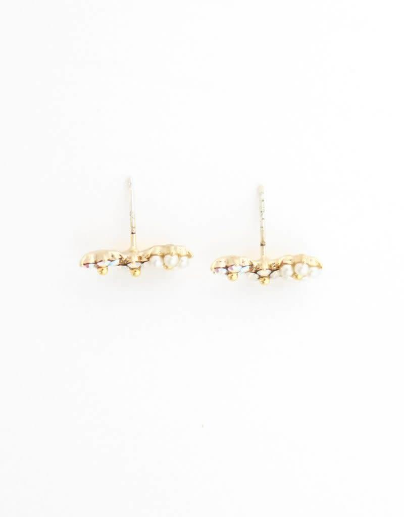 LOVERS TEMPO 1FW14009-WHT FLORAL CLIMBER EARRINGS - WHITE