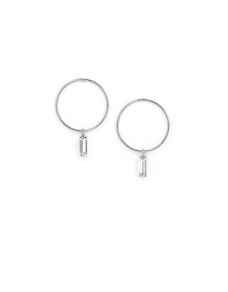 LOVERS TEMPO 1FA18008-SLV COLETTE DROP HOOP EARRINGS - SILVER