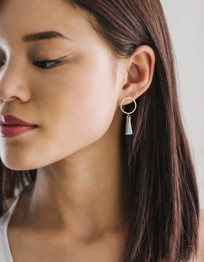 LOVERS TEMPO 1SS17005-MNT SOLAR TASSEL POST EARRINGS - MINT