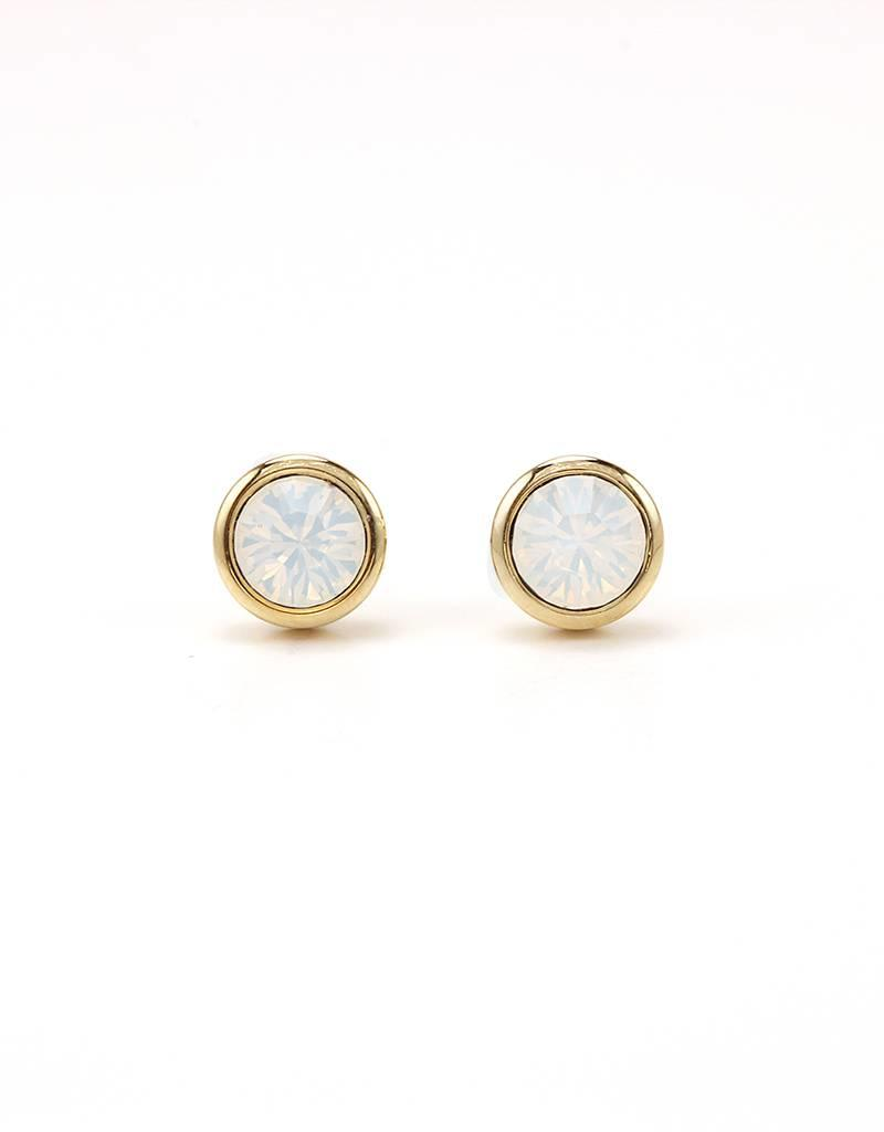 LOVERS TEMPO 1HH13002-WHT SWAROVSKI STUD EARRINGS - WHITE OPAL