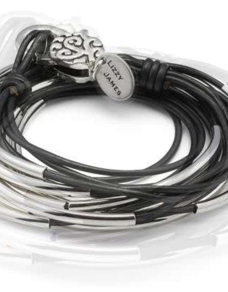 LIZZY JAMES Lizzy Classic Nat Black Silverplate SMALL