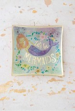 NATURAL LIFE GLST076 GLASS TRAY LETS BE MERMAIDS