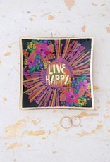 NATURAL LIFE GLST077 GLASS TRAY LIVE HAPPY
