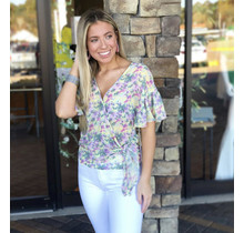 YELLOW FLORAL MELANIE TOP