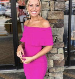 Karlie / Fuschia Bustier Ruffle Dress