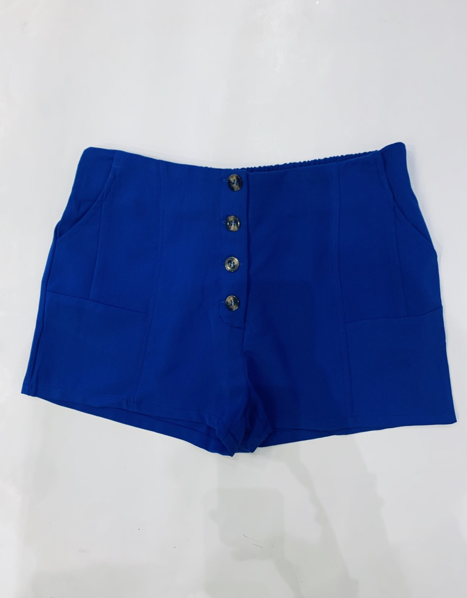 Karlie / Blue Solid Button Short
