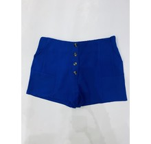 / Blue Solid Button Short