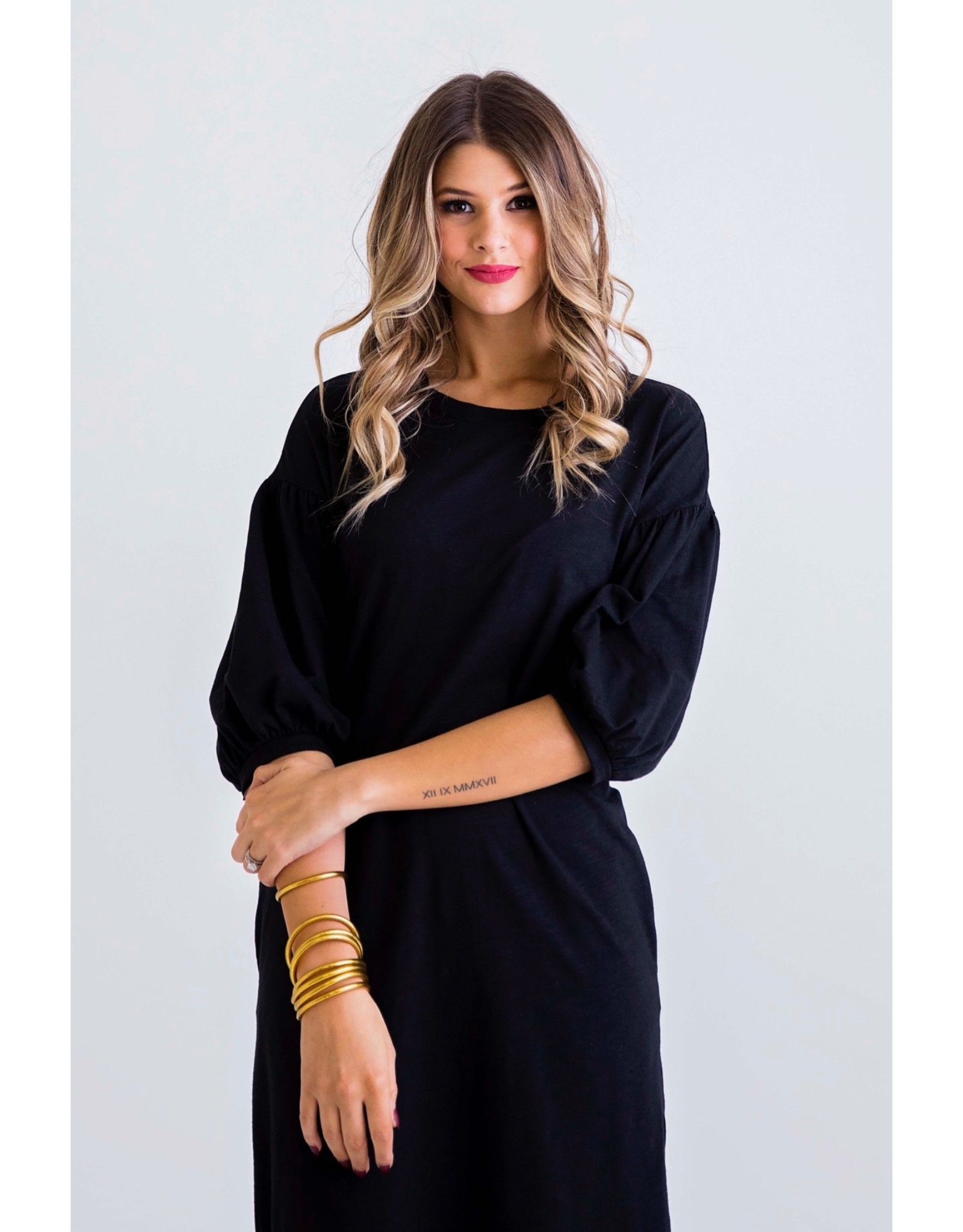 Karlie Solid Black BurnOut Midi Pocket Dress