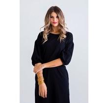 Solid Black BurnOut Midi Pocket Dress