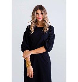 Karlie Solid Black BurnOut Midi Pocket Dress