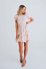 Karlie Blush Floral Smocked Ruffle Dress