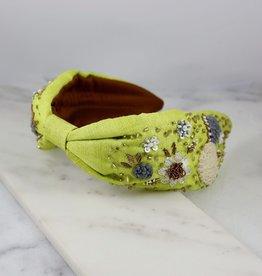 Caroline Hill Green Mayfair Flower Beaded Headband