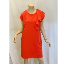 Coral Ruffle Shoulder Sheath