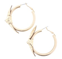 Gold faux Leather Earring