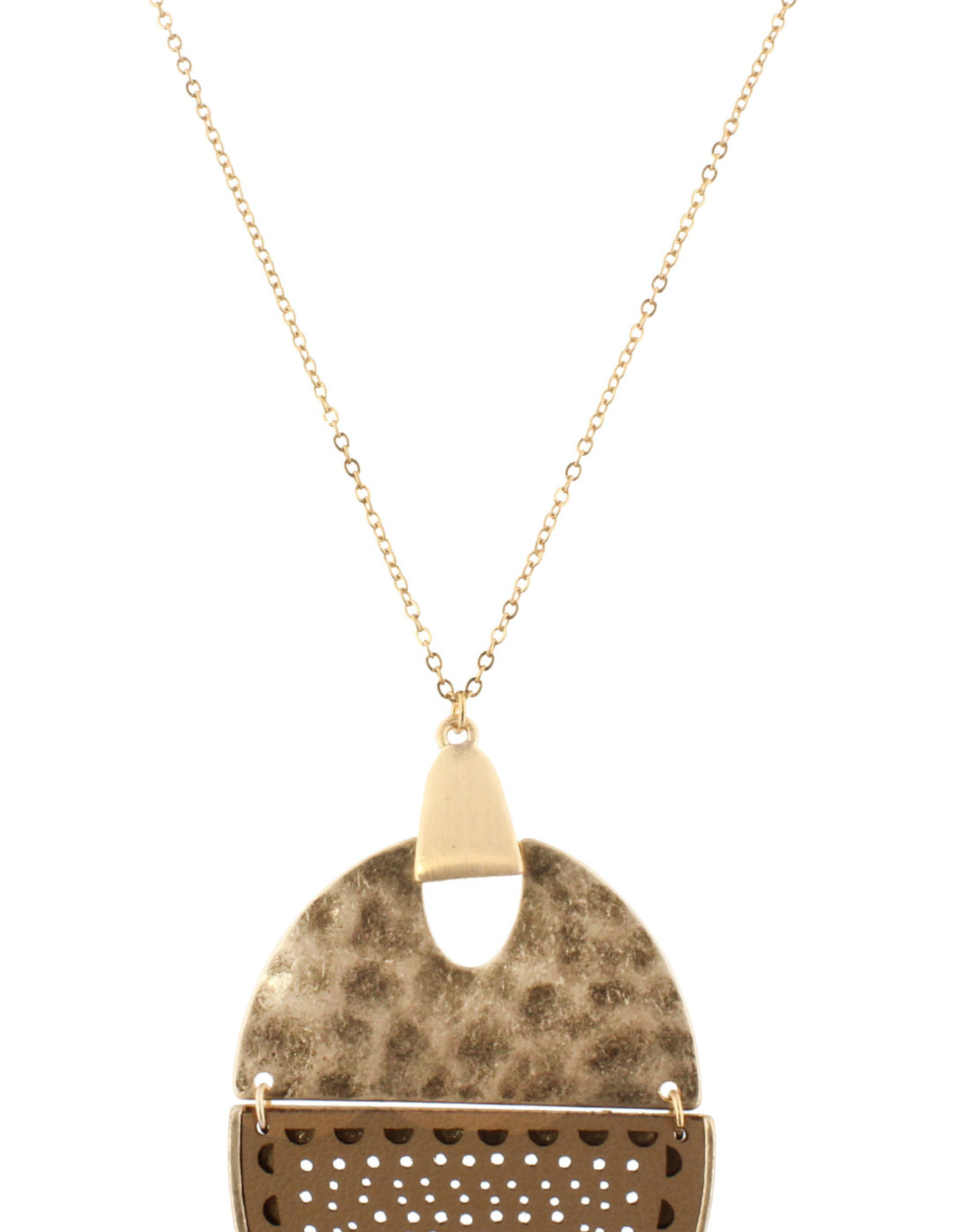 Hammered Gold and brown leather necklace