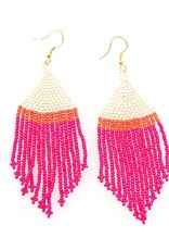 INK + ALLOY Hot Pink Ivory Coral Stripe Seed Bead Earring