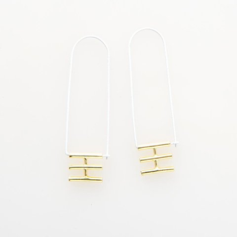 White Elongated Hoop Brass Earring
