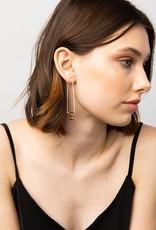 INK + ALLOY White Elongated Hoop Brass Earring