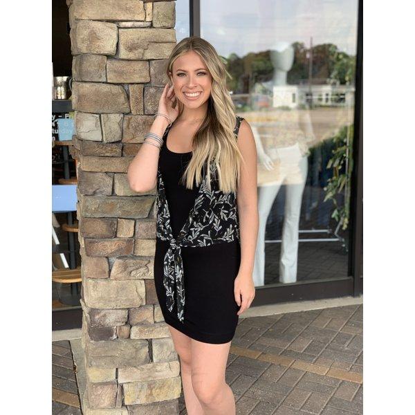 Black Print Tie Front Dress