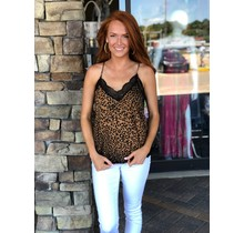 Leopard Cami Top w/ Lace