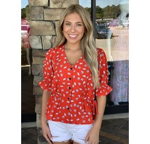 Red Shell Tie Blouse