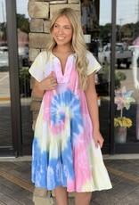 Karlie Rainbow Tie Dye Gauze Midi Dress