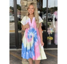 Rainbow Tie Dye Gauze Midi Dress