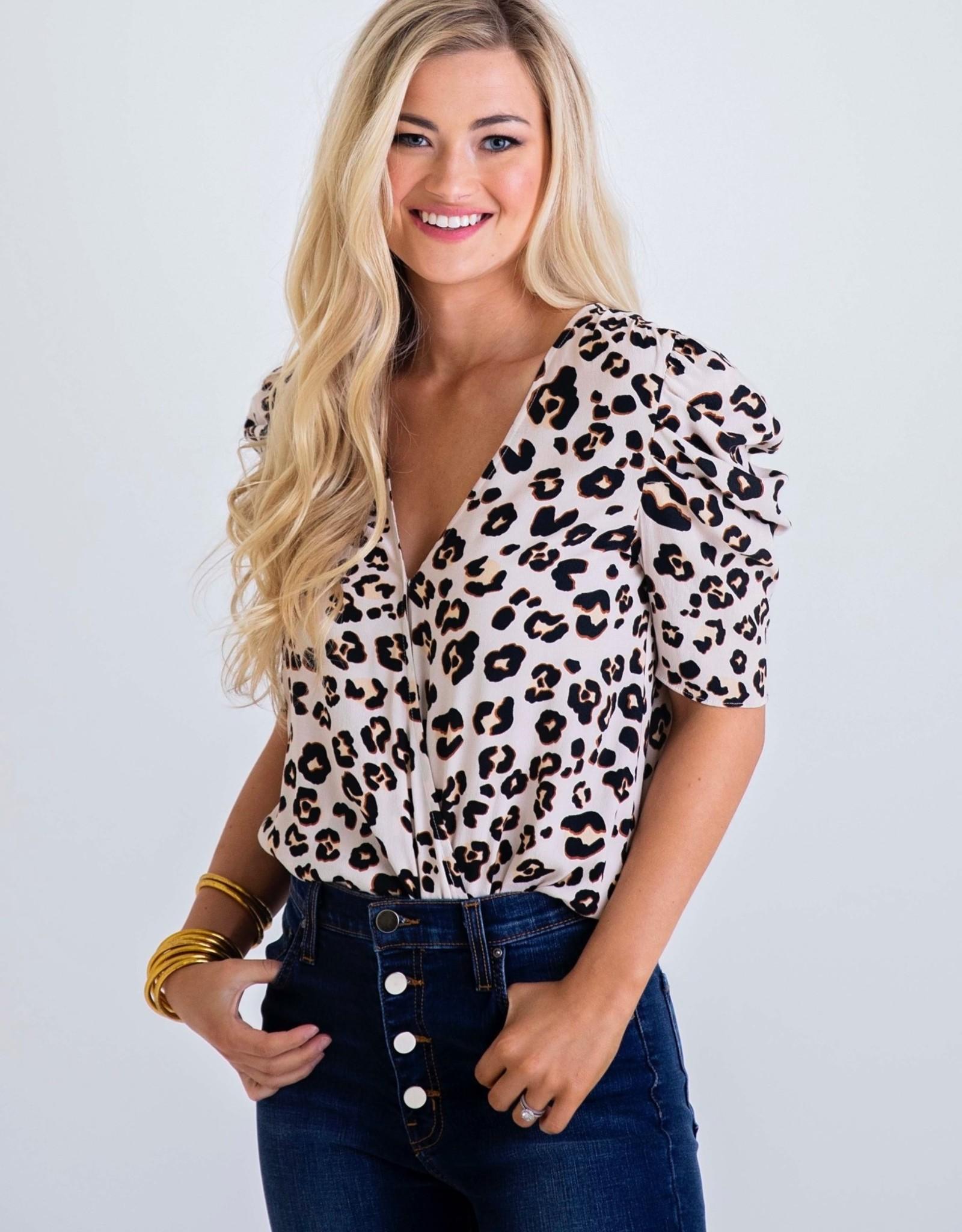 Karlie Leopard Puff Sleeve Bodysuit
