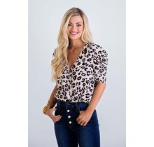Leopard Puff Sleeve Bodysuit