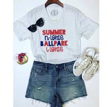 Summer Nights Ballpark Lights Tee