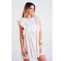 Stripe Linen Ruffle Slevless Dress