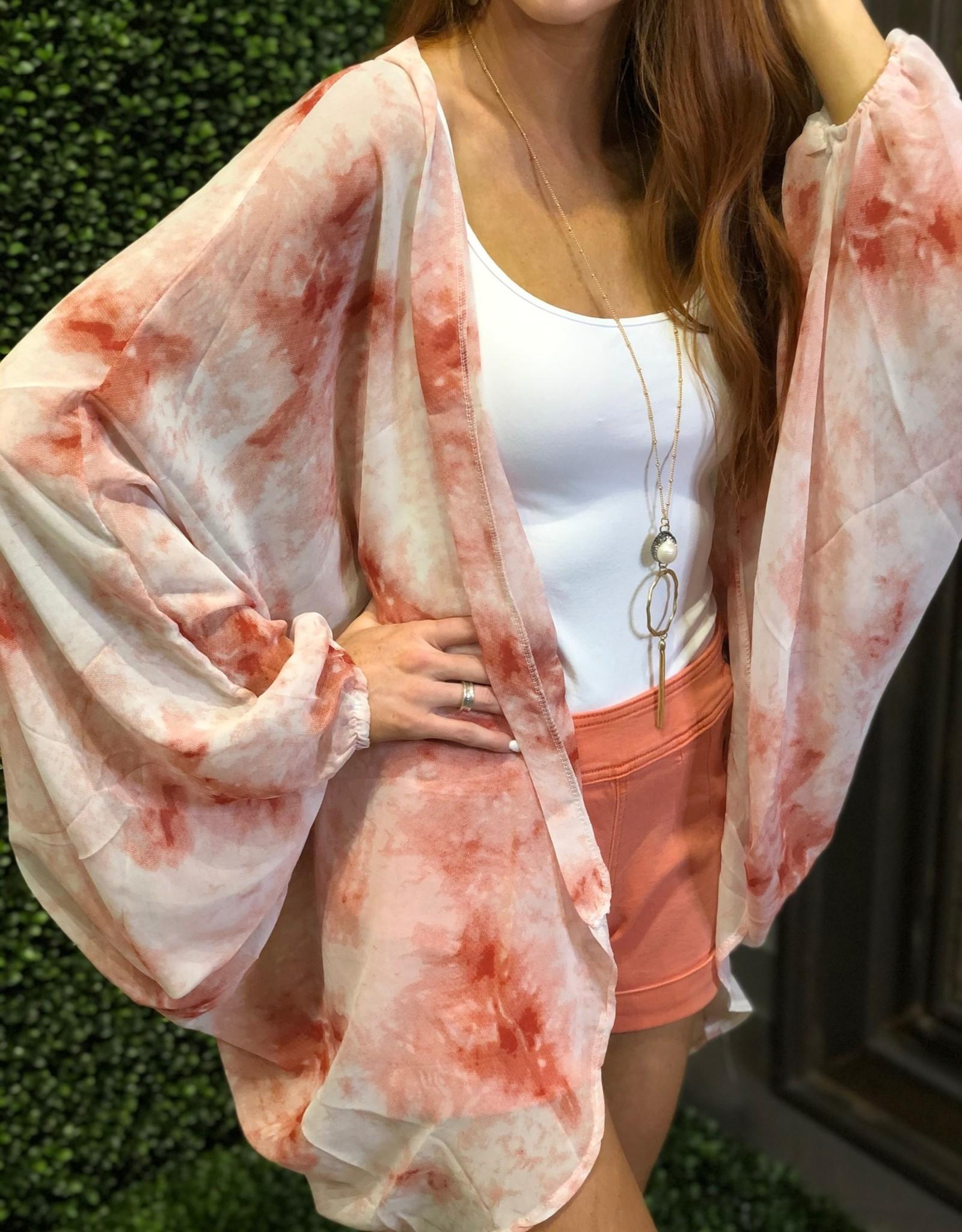 Caroline Hill Red Tie Dye Cocoon Kimono