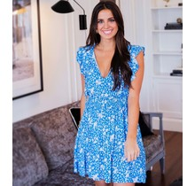 Blue Ditzy Floral Smock Waist Dress