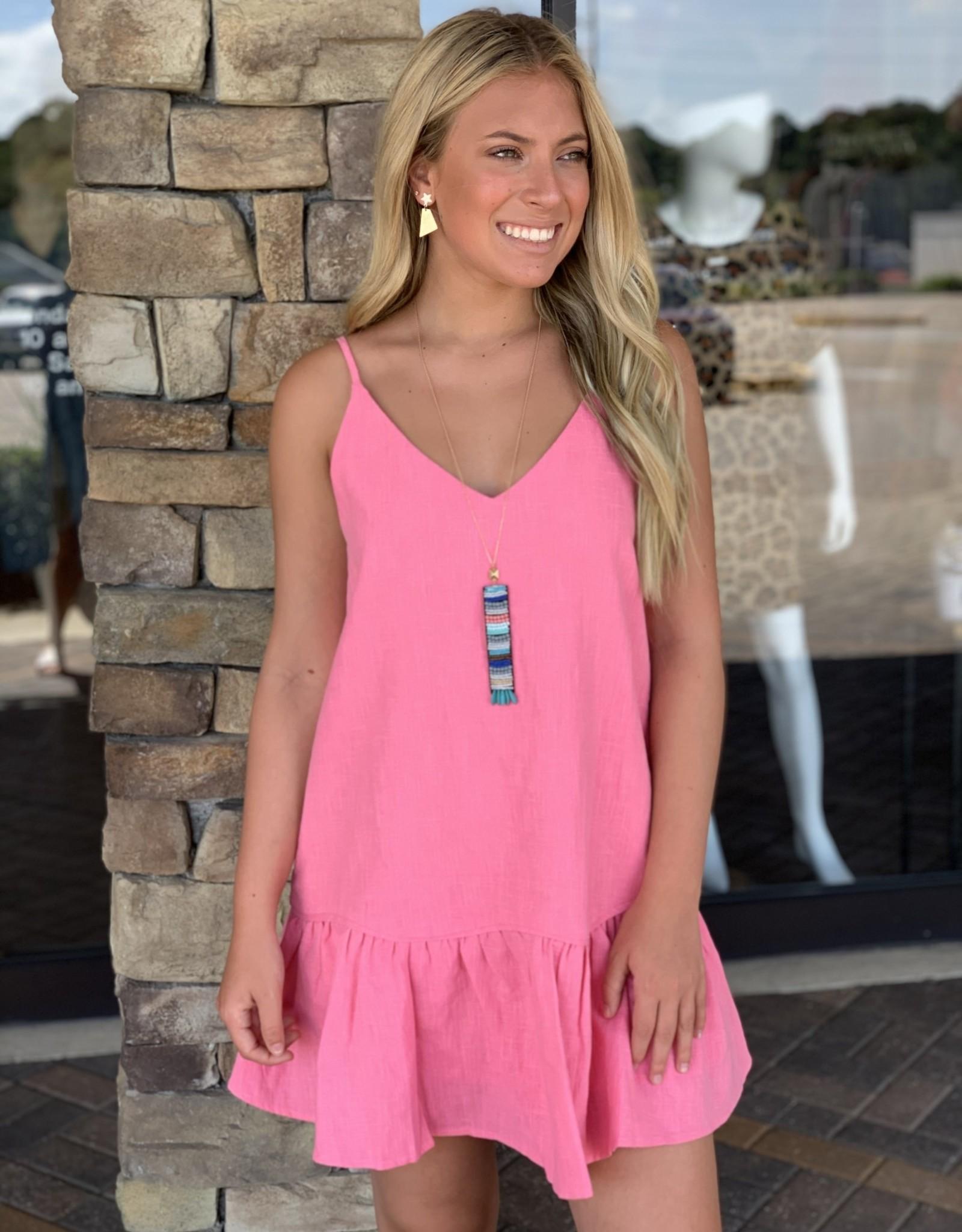 Karlie Pink Solid Linen Ruffle Bottom Dress