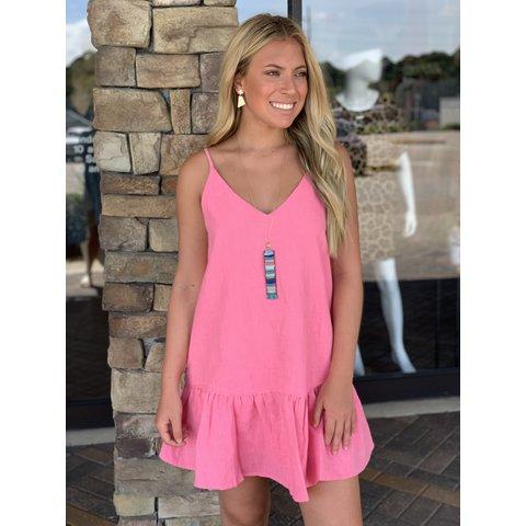 Pink Solid Linen Ruffle Bottom Dress