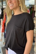 Karlie Black Solid Knit Pocket Tee