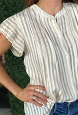 Joy Joy Beige Pleated Sleeve Blouse