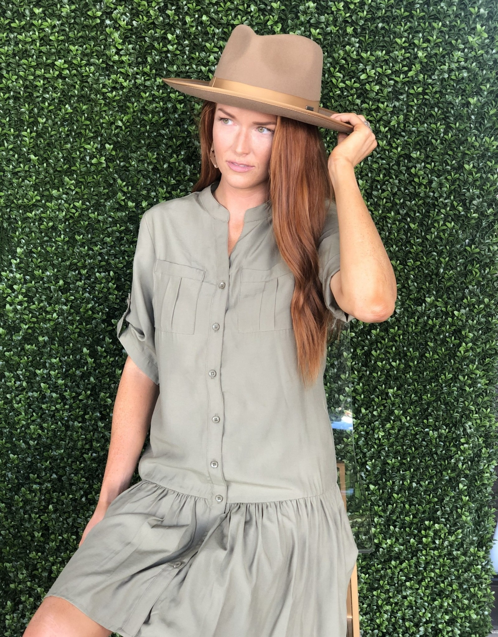 Joy Joy Army Pocket Button Down Dress