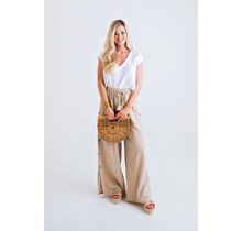 Taupe Solid Gauze Pant W/ Button Detail