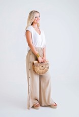 Karlie Taupe Solid Gauze Pant W/ Button Detail
